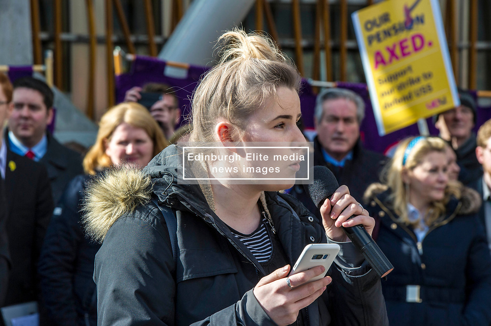 Pictured: Jodie Waite, Vice President of the Scottish National Union of Students<br /> University pensions row rally was held outside the Scottish Parliament in Edinburgh today. University staff were joined by politicians and students as part of the strike action event. <br /> <br /> Ger Harley | EEm 8 March 2018