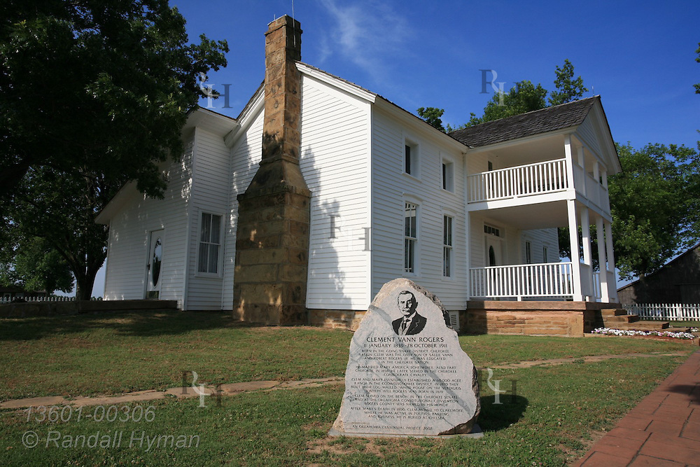 Dog Iron Ranch's White House on the Verdigris, birthplace of Will Rogers, was built 1870 by his father, Clem Rogers, a Cherokee Nation judge and senator; Oologah, Oklahoma.