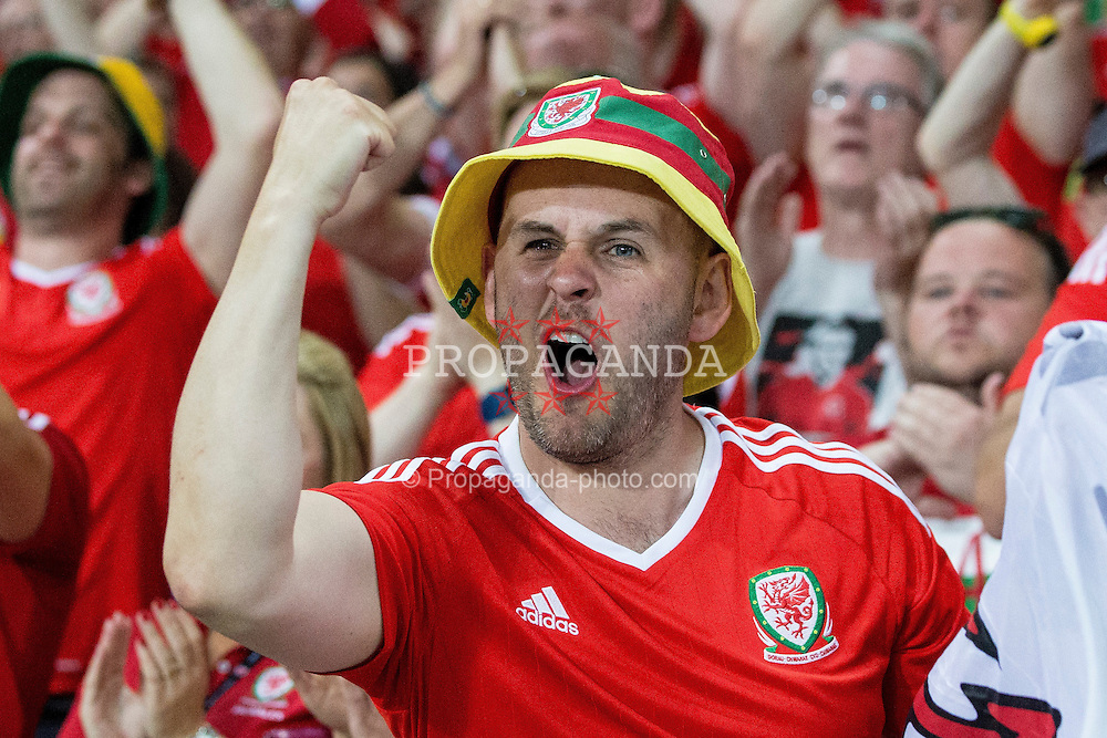 TOULOUSE, FRANCE - Monday, June 20, 2016: Wales supporters celebrate during the final Group B UEFA Euro 2016 Championship match against Russia at Stadium de Toulouse. (Pic by Paul Greenwood/Propaganda)