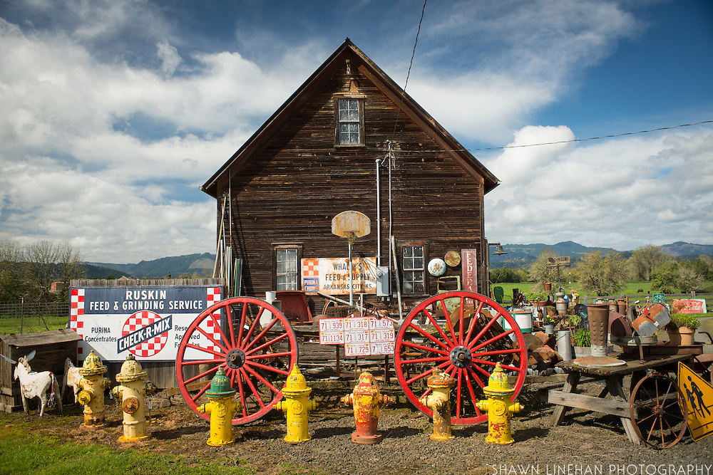 John and Kay Baird's English style barn built in 1900 holds many vintage and antique treasures for sale on their Riversdale Valley Farm outside Roseburg, Oregon.