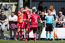 NEWTOWN, WALES - Sunday, May 6, 2018: Michael Wilde of Conahs Quay Nomads celebrates scoring his sides second goal during the FAW Welsh Cup Final between Aberystwyth Town and Connahs Quay Nomads at Latham Park. (Pic by Paul Greenwood/Propaganda) Kai Edwards, Rob Hughes