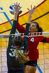 BLOOMINGTON, IL - September 14:  Kaylee Martin strikes to Mary Kate Painter during a college Women's volleyball match between the ISU Redbirds and the University of Central Florida (UCF) Knights on September 14 2019 at Illinois State University in Normal, IL. (Photo by Alan Look)