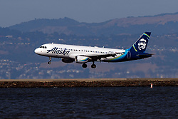 Airbus A320-214 (N854VA) operated by Alaska Airlines landing at San Francisco International Airport (KSFO), San Francisco, California, United States of America