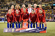 The starting players of the USWNT pose for a photo prior to the start of the international friendly women's soccer match against Sweden, Thursday, Nov. 7, 2019, in Columbus, Ohio. USA defeated Sweden 3-2 .The lineup includes Christen Press (23), Carli Lloyd (10), Tobin Heath (17), Lindsey Horan (9), Julie Ertz (8), Rosie Lavelle (16), Casey Short (26), Becky Sauerbrunn (4), Alyssa Naeher (1), Abby Dahlkemper (7) and Emily Sonnett (14).  (Jason Whitman/Image of Sport)