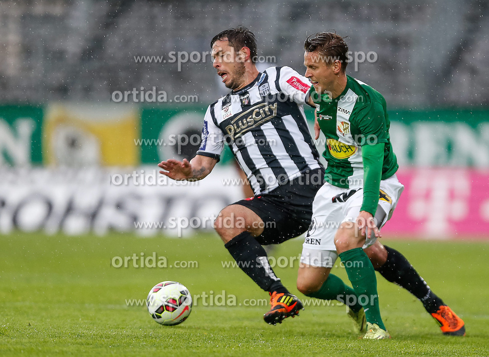 01.05.2015, Reichshofstadion, Lustenau, AUT, 2. FBL, SC Austria Lustenau vs LASK Linz 31. Runde, im Bild Radovan Vujanovic, (LASK Linz, #10) und Daniel Wolf, (SC Austria Lustenau #10)// during Austrian Second Bundesliga Football Match, 31th round, between SC Austria Lustenau vs LASK Linz at the Reichshofstadion, Lustenau, Austria on 2015/05/01. EXPA Pictures © 2015, PhotoCredit: EXPA/ Peter Rinderer