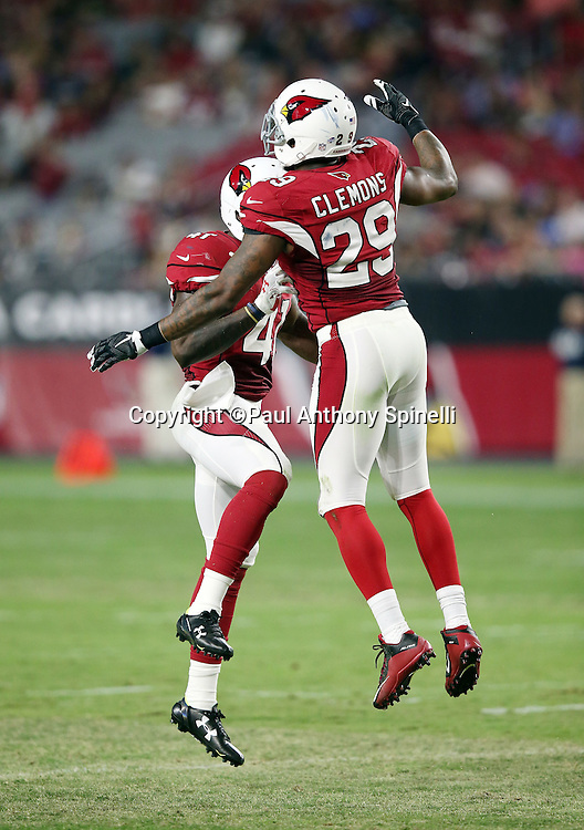 Arizona Cardinals linebacker Gabe Martin (41) jumps and celebrates with Arizona Cardinals defensive back Chris Clemons (29) after intercepting a third quarter pass during the 2015 NFL preseason football game against the San Diego Chargers on Saturday, Aug. 22, 2015 in Glendale, Ariz. The Chargers won the game 22-19. (©Paul Anthony Spinelli)