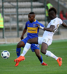 Cape Town 18-02-24 Thabo Nodada attacking as Wits midfielder Edwin Gyimah trying to defender in the PSL Game In Athlone Staduim Pictures Ayanda Ndamane African news agency/ANA