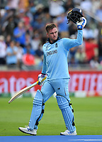 Cricket - 2019 ICC Cricket World Cup - Semi-Final: England vs. Australia<br /> <br /> England's Jason Roy acknowledges the crowd as he is dismissed for 85, caught by Australia's Alex Carey off the bowling of Pat Cummins, at Edgbaston, Birmingham.<br /> <br /> COLORSPORT/ASHLEY WESTERN