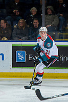 KELOWNA, CANADA - JANUARY 30: Schael Higson #21 of the Kelowna Rockets skates with the puck against the Seattle Thunderbirds  on January 30, 2019 at Prospera Place in Kelowna, British Columbia, Canada.  (Photo by Marissa Baecker/Shoot the Breeze)