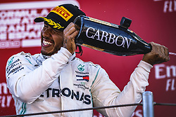 May 12, 2019: Barcelona, Spain: LEWIS HAMILTON (GBR) from team Mercedes  sprays champagne as he celebrates his victory of the Spanish GP on the podium at the Circuit de Barcelona-Catalunya. (Credit Image: © Matthias Oesterle/ZUMA Wire)