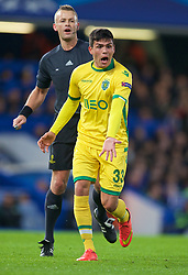 LONDON, ENGLAND - Wednesday, December 10, 2014: Sporting Clube de Portugal's Jonathan Silva in action against Chelsea during the final UEFA Champions League Group G match at Stamford Bridge. (Pic by David Rawcliffe/Propaganda)