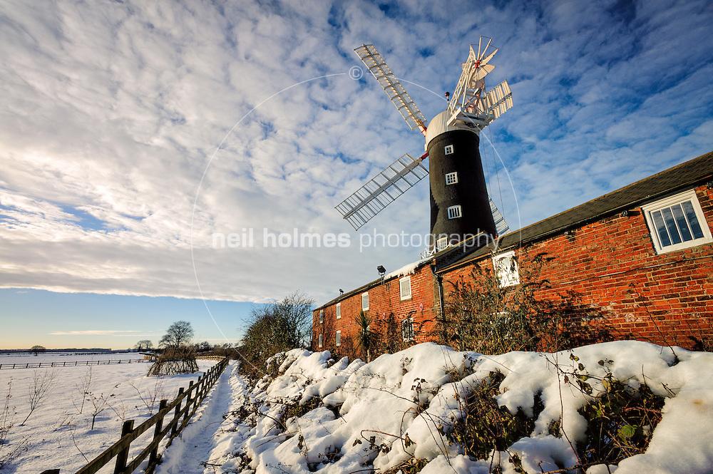 Skidby Windmill in mid December 2010 after heavy snowfall