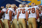SAN DIEGO, CA - AUGUST 30:  General view of a group of San Francisco 49ers in the huddle at the NFL preseason game with the San Diego Chargers at Qualcomm Stadium on August 30, 2007 in San Diego, California. The Chargers defeated the 49ers 16-13. ©Paul Anthony Spinelli