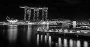 Marina Bay Singapore at Night. 7 exposure HDR shot processed through Photomatix and then turned B&amp;W with Lightroom4.<br />