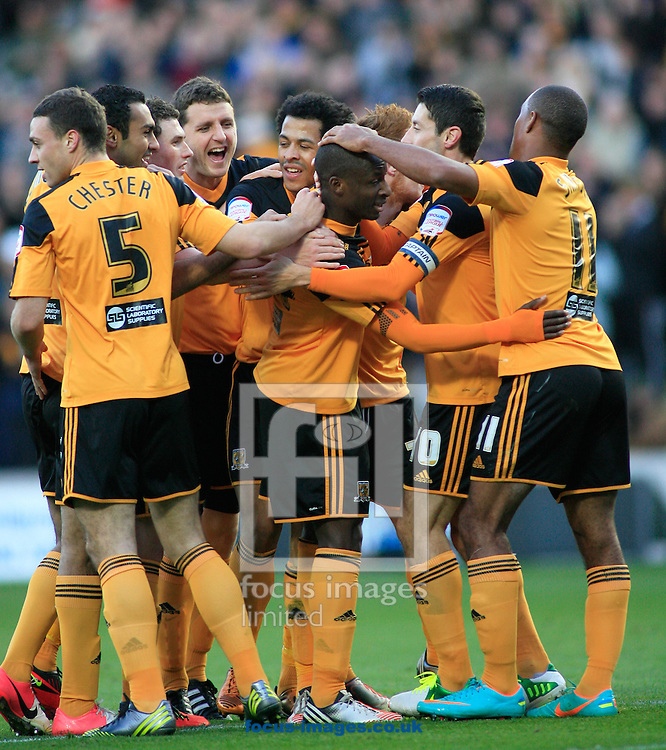 Picture by Richard Gould/Focus Images Ltd +44 7855 403186.03/11/2012.Corry Evens (8) of Hull City celebrates Sone Aluko goal  during the npower Championship match at the KC Stadium, Kingston upon Hull.