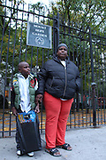 Bronx, NY Oct. 9 2013. Serene Mayes and her grandson, Cashmere Jackson, 6, say the Parks Department is neglected Mt. Hope Park. 10092013. Photo by Kayle Hope Schnell/NYCity Photo Wire