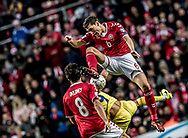 FOOTBALL: Andreas Christensen (Denmark) jumps above Florin Andone (Romania) during the World Cup 2018 UEFA Qualifier Group E match between Denmark and Romania at Parken Stadium on October 8, 2017 in Copenhagen, Denmark. Photo by: Claus Birch / ClausBirch.dk.
