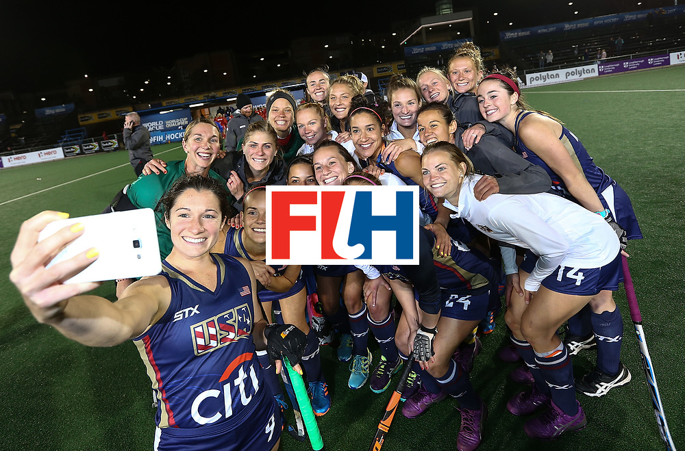 JOHANNESBURG, SOUTH AFRICA - JULY 20:  The United States of America team poses for a selfie after the shoot out during day 7 of the FIH Hockey World League Women's Semi Finals semi final match between England and United Staes of America at Wits University on July 20, 2017 in Johannesburg, South Africa.  (Photo by Jan Kruger/Getty Images for FIH)