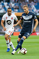 Melbourne Victory forward Ola Toivonen (11) controls the ball at the Hyundai A-League Round 6 soccer match between Melbourne Victory and Western Sydney Wanderers at Marvel Stadium in Melbourne.