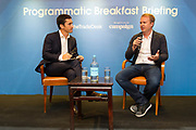 "Discussion ""Programmatic and creativity - The fireside chat"" with Jeff Green, CEO & Founder, The Trade Desk, USA, and Robert Sawatzky, Head of Content, Campaign Asia-Pacific, Hong Kong, during the The Trade Desk Programmatic Breakfast Briefing on 13July 2017 in the China Club, Hong Kong. Photo by Lucas Schifres"