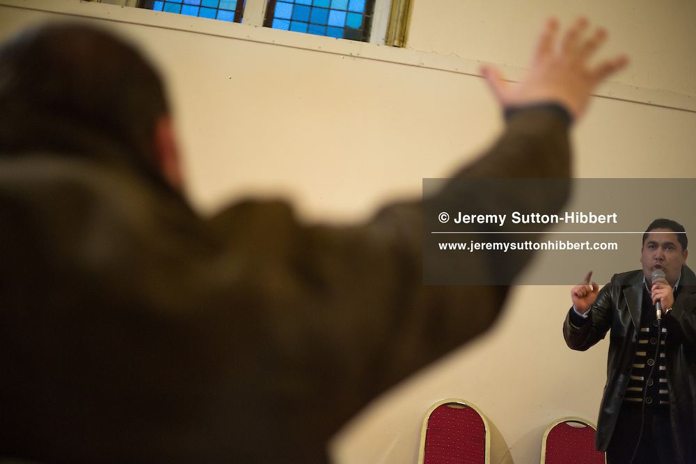 Roma congregation and pastors at a Pentecostal church, in Govanhill, Glasgow, Scotland, Wednesday 13th February 2013.