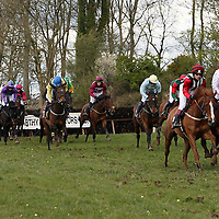 Action from the 3rd race at the first County Clare Hunt point to point in Cahergal, Newmarket-on-Fergus on Easter Sunday.<br /> Photograph by Yvonne Vaughan