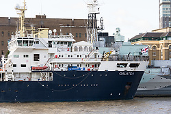 © Licensed to London News Pictures. 12/09/2017. LONDON, UK.  THV Galatea has arrived in London and is moored next to HMS Belfast for London International Shipping Week. THV Galatea is a Trinity House multi-function ship, designed to carry out marine operations as part of their duty as the General Lighthouse Authority for England, Wales, the Channel Islands and Gibraltar. An estimated 15,000 shipping industry leaders are expected to attend events in London and on board the THV Galatea during International Shipping Week this week. Photo credit: Vickie Flores/LNP