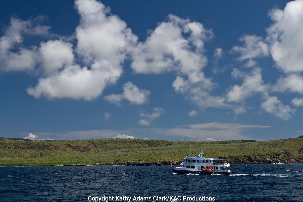 Working yacht, carrying passengers, in the Galapagos Islands, Ecuador.