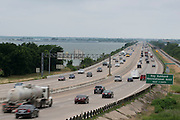 Traffic on I-30 on the eastern side of Lake Ray Hubbard in Rockwall, Texas on June 6, 2014. This stretch of highway has become known for rush hour traffic and a proposed tollway running between Greenville and Wylie looks to relieve that congestion. (Cooper Neill / for The Texas Tribune