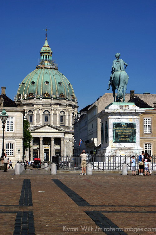 Europe, Denmark, Copenhagen. Frederik's Church and statue of Frederik V in Amalienborg Square.