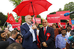 © Licensed to London News Pictures. 18/05/2017. London, UK.   Labour leader JEREMY CORBYN addresses a campaign rally in Southall, west London on the same day that Prime Minister Theresa May launched the Conservative Party manifesto. Photo credit: Tolga Akmen/LNP