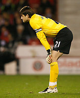Photo: Steve Bond.<br /> Sheffield United v Arsenal. Carling Cup. 31/10/2007. Lukasz Fabianski has little to do