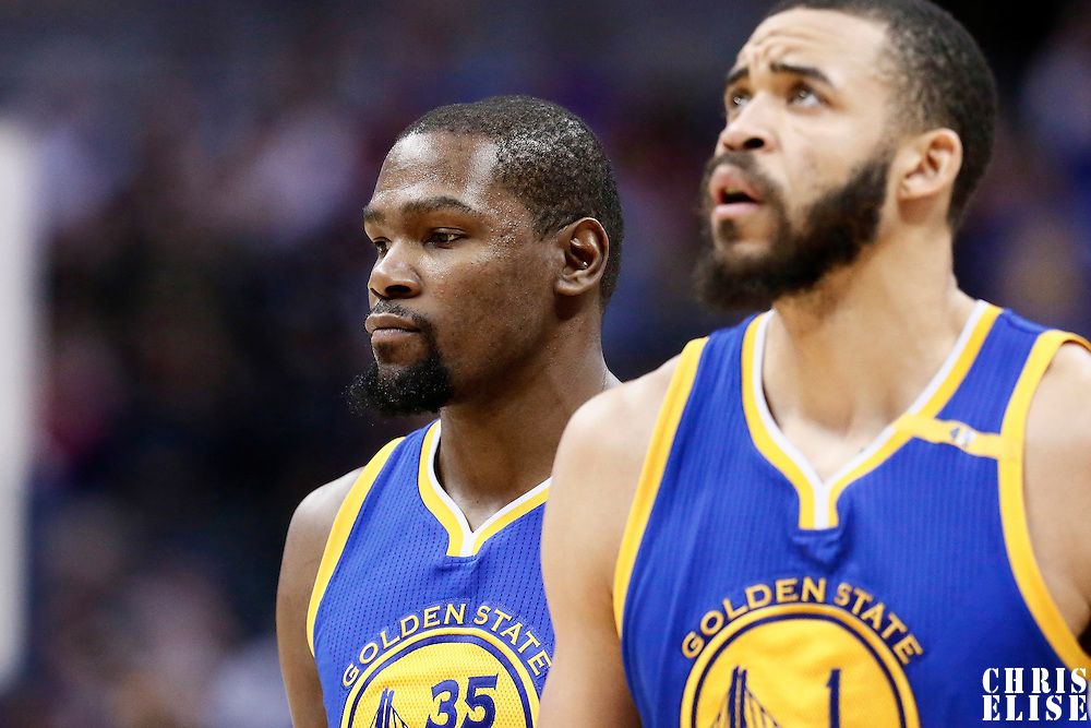 13 February 2017: Golden State Warriors forward Kevin Durant (35) is seen next to Golden State Warriors center JaVale McGee (1) during the Denver Nuggets 132-110 victory over the Golden State Warriors, at the Pepsi Center, Denver, Colorado, USA.