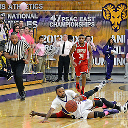 Staff photos by Tom Kelly IV<br /> West Chester's Troy Hockaday (13) fights for a loose ball on the ground during the Shippensburg at West Chester University men's basketball game on Saturday, February 15, 2014.