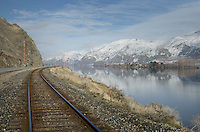 Railroad tracks along Columbia River near Entiat, Washington