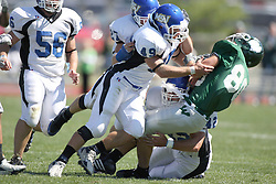 15 September 2007:  Jack Scalucci gets stopped by Kyle Prosser. The Titans stood toe to toe with the 25th ranked Lions through the first half but ended the game on the losing end of a 25-15 score at Wilder Field on the campus of Illinois Wesleyan University in Bloomington Illinois.