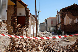 June 13, 2017 - Vrissa-Lesvos Island, Greece - A house is seen damaged after an earthquake in Lesvos Island. Rescue workers reached the body of 45-year-old woman trapped under the rubble of a fallen house in Vrisa, Lesvos following 12 June's earthquake but she was already dead, authorities reported. A 6.3- magnitude earthquake struck with it's epicentre near the coast of Greek island Lesbos (Credit Image: © Eurokinissi via ZUMA Wire)