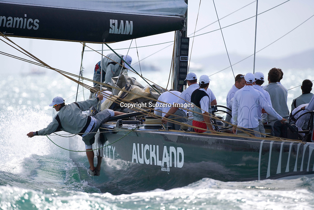 BMW Oracle Racing crew member deals with a problem during the Louis Vuitton Pacific Series, Auckland, New Zealand, 31 January 2009.