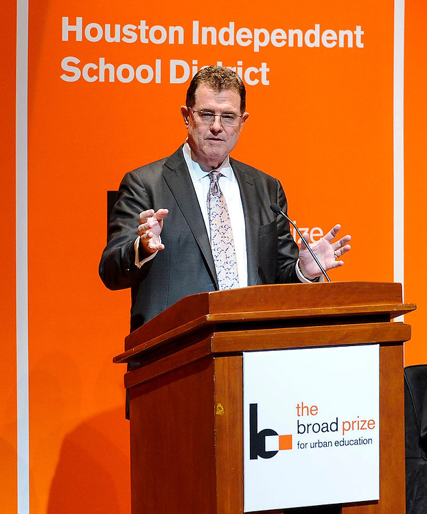 Houston Independent School District Superintendent Terry Grier addresses more than 300 education leaders around the country after winning the 2013 Broad Prize for Urban Education, Wednesday, Sept. 25, 2013, at the Library of Congress in Washington, D.C. Houston is the only public school district in the country to win The Broad Prize twice. (Photo by Diane Bondareff/Invision for The Broad Foundation/AP Images)