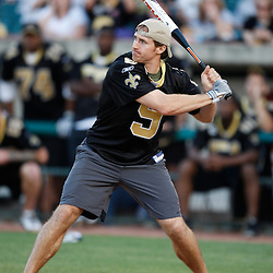 Apr 28, 2010; Metairie, LA, USA; Drew Brees (9) at bat during the Heath Evans Foundation charity softball featuring teammates of the Super Bowl XLIV Champion New Orleans Saints at Zephyrs Field.  Mandatory Credit: Derick E. Hingle-US-PRESSWIRE.