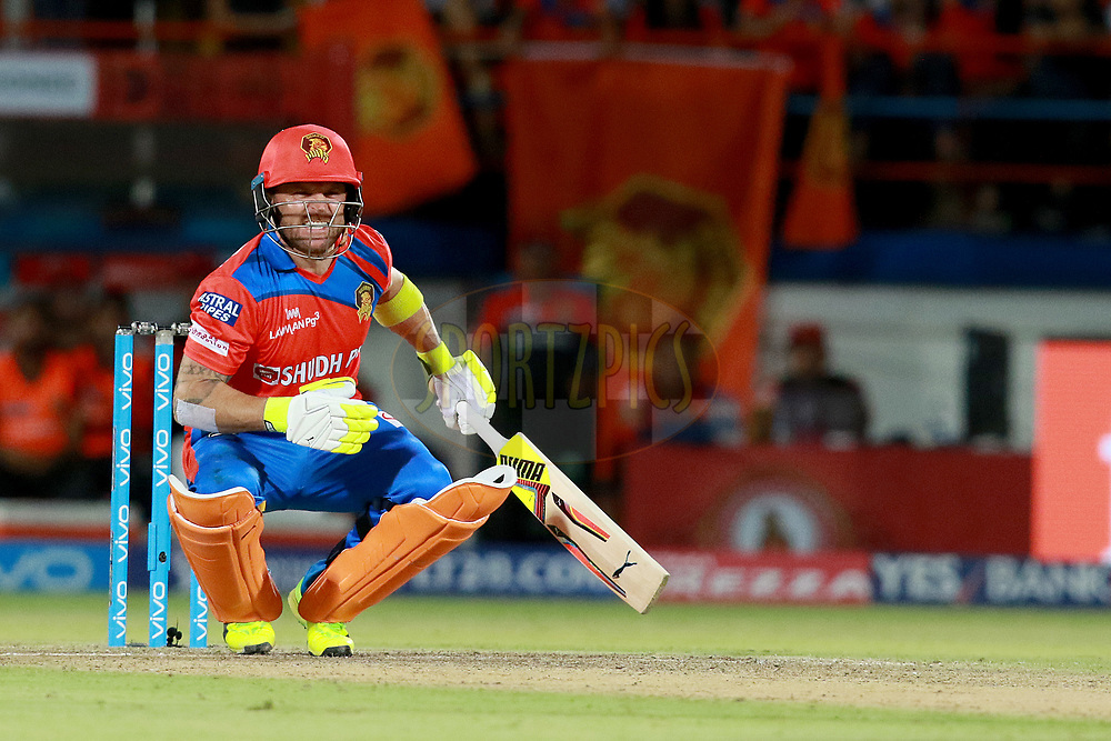 Brendon McCullum of GL during match 20 of the Vivo 2017 Indian Premier League between the Gujarat Lions and the Royal Challengers Bangalore  held at the Saurashtra Cricket Association Stadium in Rajkot, India on the 18th April 2017<br /> <br /> Photo by Rahul Gulati - Sportzpics - IPL