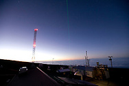 Green LIDAR laser shoots into the sky at the Mauna Loa Observatory, Hilo, Hawaii.