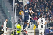 Manchester United Midfielder Paul Pogba battles with a header in the air with Juventus Defender Leonardo Bonucci during the Champions League Group H match between Juventus FC and Manchester United at the Allianz Stadium, Turin, Italy on 7 November 2018.
