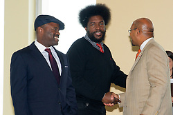 WaWa Welcome America announcement. Vista Top of the Tower, Philadelphia, PA USA - May 9, 2013; ..Tariq Trotter 'Black Thought', Amhir '?uestlove' Thompson and Philadelphia Mayor Michael Nutter at the 2013 Philly 4th of July Jam line up announcement.<br />