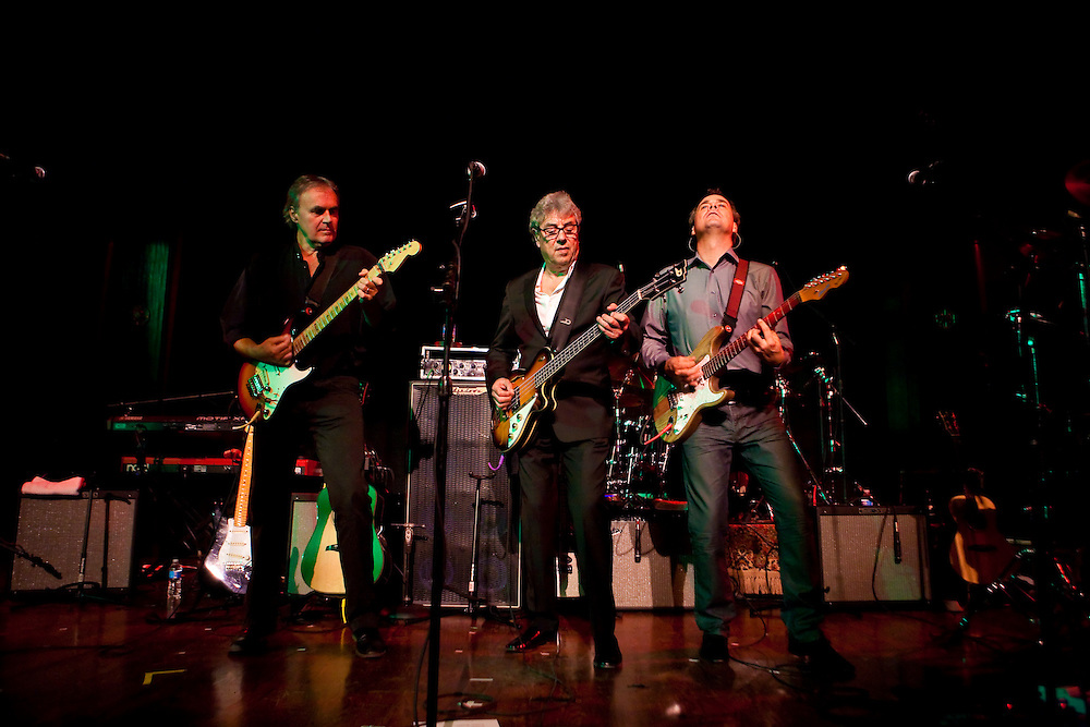 Rick Fenn, Graham Gouldman and Mick Wilson of 10cc performing at the band's only NY appearnace at The Concert Hall in New York City, July 13, 2012