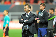 Derby County manager Darren Wassall feeling the pressure as the game goes into stoppage time with his team leading 3-2 over Bristol City during the Sky Bet Championship match between Bristol City and Derby County at Ashton Gate, Bristol, England on 19 April 2016. Photo by Graham Hunt.