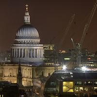 View towards St Pauls Cathedral at night