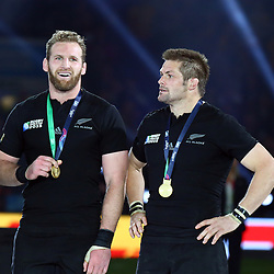 LONDON, ENGLAND - OCTOBER 31: Kieran Read of New Zealand with Richie McCaw (captain) of New Zealand during the Rugby World Cup Final match between New Zealand vs Australia Final, Twickenham, London on October 31, 2015 in London, England. (Photo by Steve Haag)