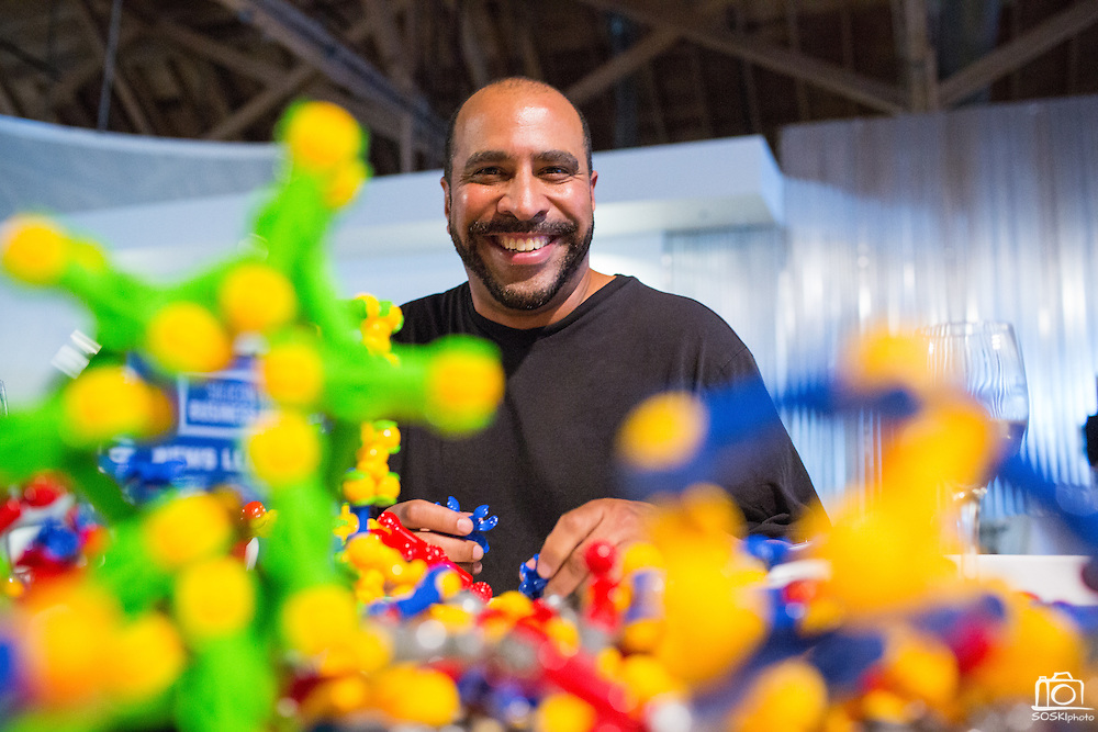 Anthony Petronelli works with a Zoob display during the Silicon Valley Business Journal's HHaaS Tech Mixer at ZERO1 in San Jose, California, on May 28, 2015. (Stan Olszewski/SOSKIphoto for the Silicon Valley Business Journal)