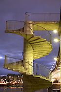 DEU, Germany, Cologne, spiral staircase of the Deutzer bridge across the river Rhine.....DEU, Deutschland, Koeln, Wendeltreppe der Deutzer Bruecke ueber den Rhein...
